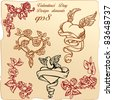 Set of vintage elements and vignettes for Valentine`s Day greeting - hearts, roses, angels wings, dove - stock
