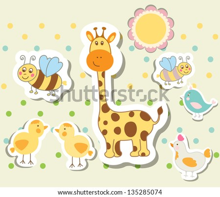 Set of vintage elements for greeting card vector eps 10 - stock vector