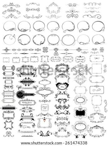 Set of vintage elements (frames, headers, rulers) - stock vector