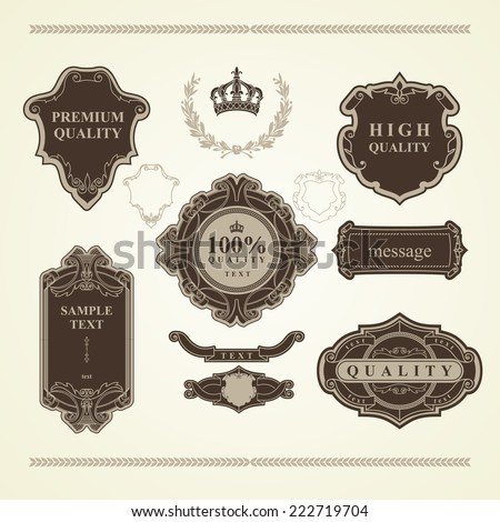 Set of vintage elements: heraldry, banners, labels, frames, ribbons