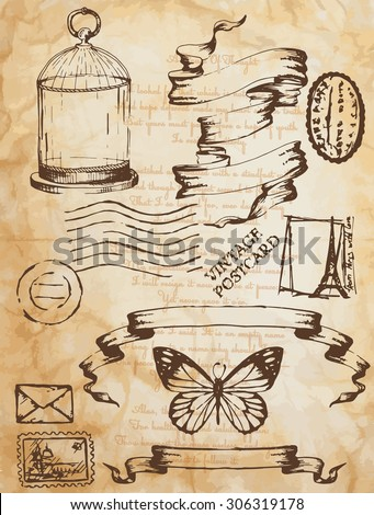 set of vintage elements, printing, stamps, text, cage for birds - stock vector