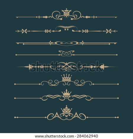 Set of vintage elements retro style design luxury calligraphic ornaments for Invitations banners posters logotypes for your design vector image - stock vector