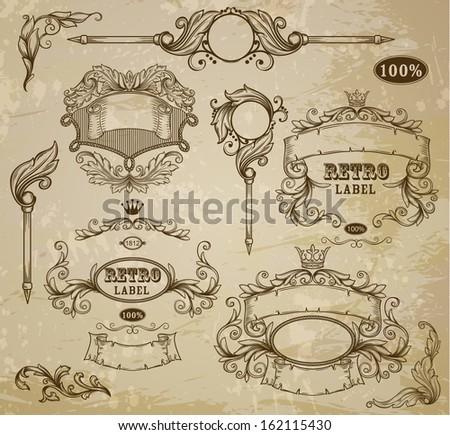 Set of vintage elements: ribbons,  and emblem - stock vector