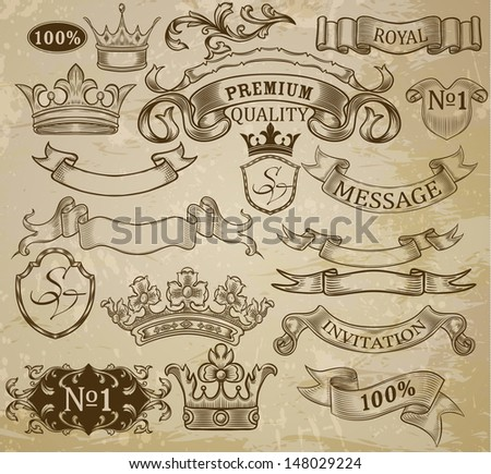 Set of vintage elements: ribbons, crowns and vignettes. - stock vector