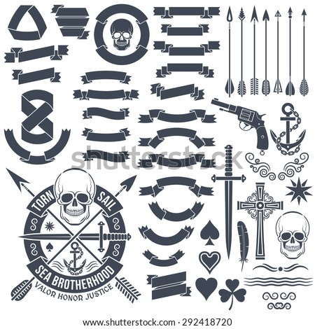 Set of vintage elements to create logos. Pirate skull emblem. Heraldic ribbon banners. Cross, dagger, skull, star, pistol, clover, anchor, arrows. - stock vector