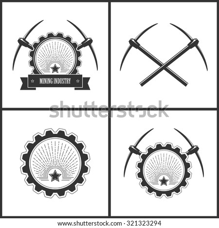 Set of  Vintage Emblem of the Mining Industry,  Label or Badge Mine Shaft, Mining Industry, Star in Retro Sunlight, Two Crossed Pickaxes,  Star on a Background of the Sunburst in Gear with Pickaxes - stock vector