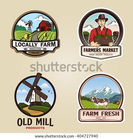 Set of vintage farm logotype. Vector illustration - stock vector
