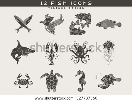 Set of vintage fish and sea food icons. Retro vector design  labels, badges, graphic element, emblem, logo, insignia, sign, identity, logotype, poster.