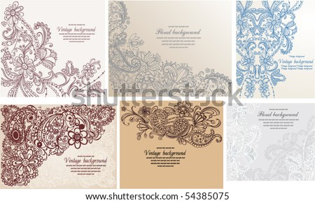 set of vintage floral backgrounds - stock vector