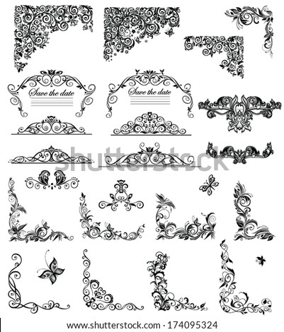 Set of vintage floral caption (black and white) - stock vector