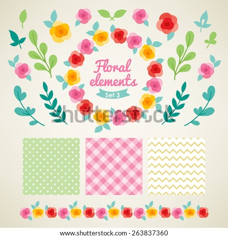 Set of vintage floral design elements with roses, leaves and branches. Seamless patterns with Polka Dot, Chevron and Gingham. Perfect for spring or summer invitation, wedding, birthday greeting cards - stock vector