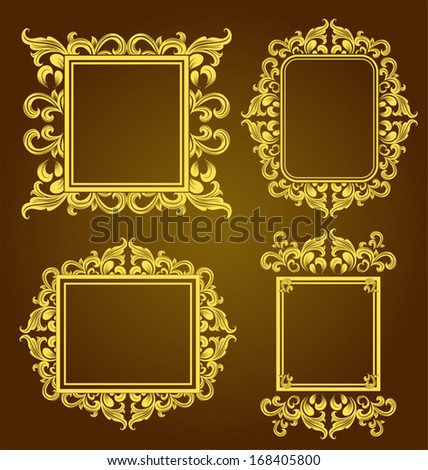 Set of vintage floral frame. Element for design. - stock vector