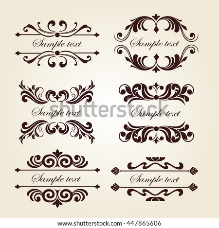 Set Vintage Floral Ornament Elements Decorative Stock Vector ...