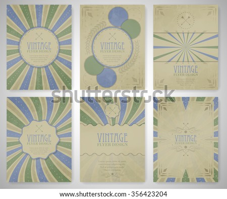 Set of vintage flyer template, brochure, cover design or corporate banner/editable vector design for your project. - stock vector