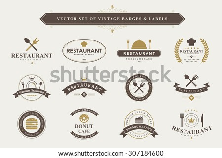 Set of vintage  food badges and labels