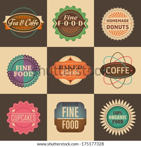 Set of vintage food labels. Vector illustration. - stock vector
