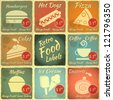 Set of Vintage Food Labels with place for Price - Retro Signs with Grunge Effect - vector illustration - stock vector