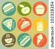 set of Vintage Food round Labels - Retro Signs - vector illustration - stock vector