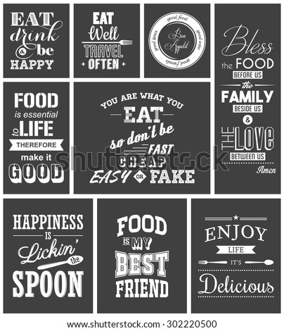 Set of vintage food typographic quotes. Vector EPS8 illustration.  - stock vector