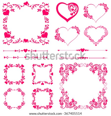 Set of Vintage frame. Celebration background with heart and place for your text. Vector Illustration - stock vector