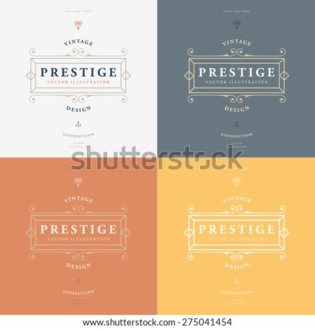 Set of Vintage Frame for Luxury Logos, Restaurant, Hotel, Boutique or Business Identity. Royalty, Heraldic Design with Flourishes Elegant Design Elements. Vector Illustration Template. - stock vector