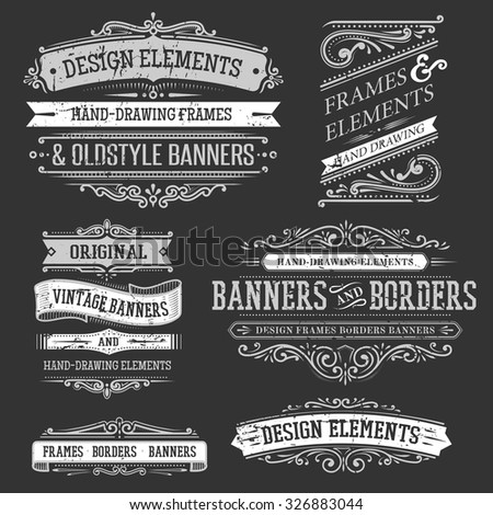 set of vintage frames and banners - stock vector