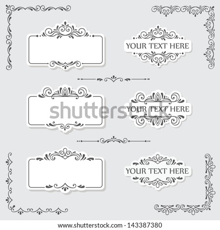 Set of vintage frames and design elements in vector - stock vector