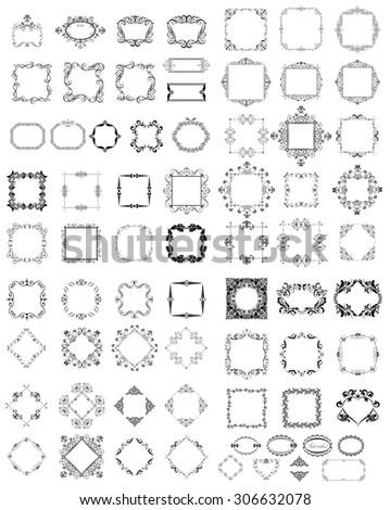 Set of vintage frames and vignette - stock vector