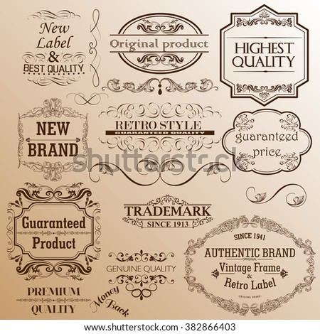 Set of vintage frames for advertising and design. Signboards for restaurants and brands.