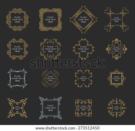 Set of Vintage Frames for Luxury Logos, Restaurant, Hotel, Boutique or Business Identity. Royalty, Heraldic Design with Flourishes Elegant Design Elements. Vector Illustration Templates. - stock vector