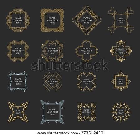 Set of Vintage Frames for Luxury Logos, Restaurant, Hotel, Boutique or Business Identity. Royalty, Heraldic Design with Flourishes Elegant Design Elements. Vector Illustration Templates. - stock vector