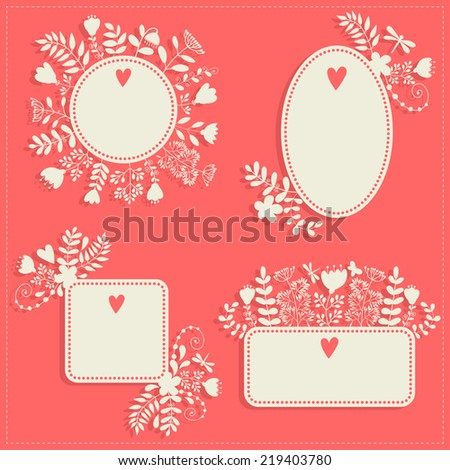 Set of vintage frames for text or photo. Decorative flowers. silhouette - stock vector
