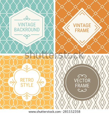 Set of vintage frames in Blue, Orange, Yellow, Brown and Beige on mono line seamless background. Perfect for greeting cards, wedding invitations, retro parties. Vector labels and badges - stock vector
