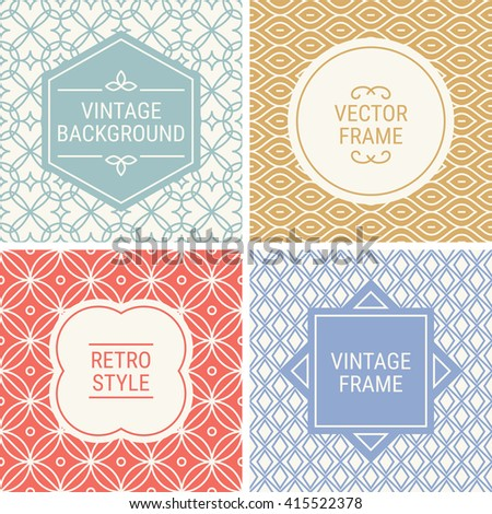 Set of vintage frames in Grey, Gold, Red, Violet and Beige on mono line seamless background. Perfect for greeting cards, wedding invitations, retro parties. Vector labels and badges - stock vector