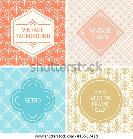 Set of vintage frames in Orange, Blue, Gold and Beige on mono line seamless background. Perfect for greeting cards, wedding invitations, retro parties. Vector labels and badges - stock vector