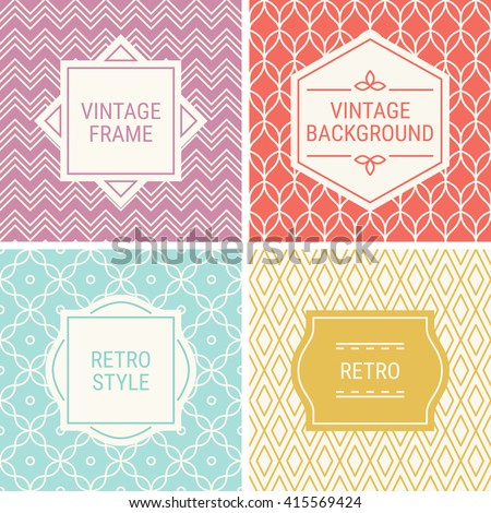 Set of vintage frames in Pink, Red, Turquoise, Gold and Beige on mono line seamless background. Perfect for greeting cards, wedding invitations, retro parties. Vector labels and badges - stock vector