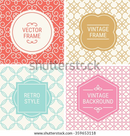 Set of vintage frames in Red, Gold, Blue, Pink and Beige on mono line seamless background. Perfect for greeting cards, wedding invitations, retro parties. Vector labels and badges - stock vector