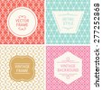 Set of vintage frames in Red, Turquoise, Gold, Pink and Beige on mono line seamless background. Perfect for greeting cards, wedding invitations, retro parties. Vector labels and badges - stock vector