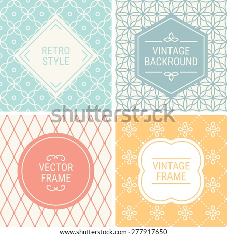 Set of vintage frames in Red, Turquoise, Grey, Yellow and Beige on mono line seamless background. Perfect for greeting cards, wedding invitations, retro parties. Vector labels and badges - stock vector