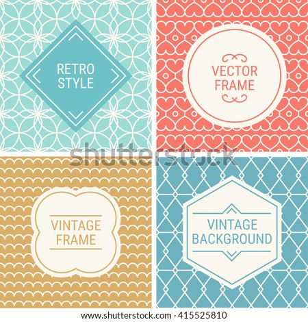 Set of vintage frames in Turquoise, Red, Gold, Blue and Beige on mono line seamless background. Perfect for greeting cards, wedding invitations, retro parties. Vector labels and badges - stock vector