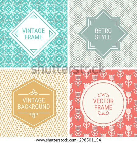 Set of vintage frames in Turquoise, Red, Gold, Grey and Beige on mono line seamless background. Perfect for greeting cards, wedding invitations, retro parties. Vector labels and badges - stock vector