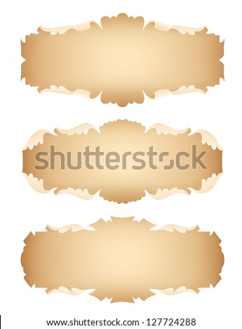 Set of vintage frames in view scrolls isolated on white background - stock vector