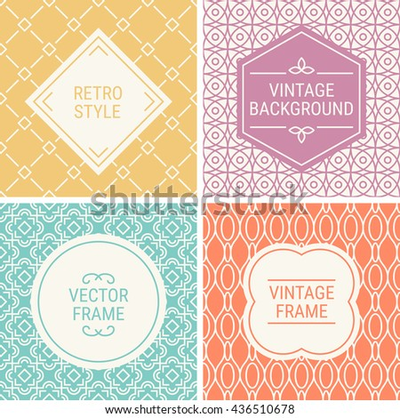 Set of vintage frames in Yellow, Pink, Cyan, Orange and Beige on mono line seamless background. Perfect for greeting cards, wedding invitations, retro parties. Vector labels and badges - stock vector
