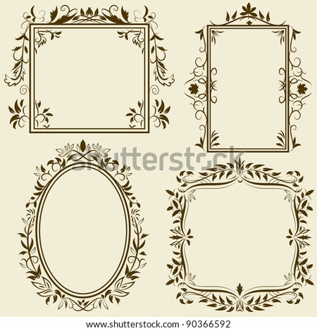 Set of vintage frames with floral ornament. Vector illustration. - stock vector