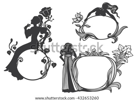 set of vintage frames with silhouettes of women (modren style)