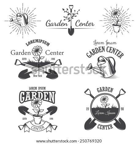 Set of vintage garden center emblems, labels, badges, logos and designed elements. Monochrome style - stock vector