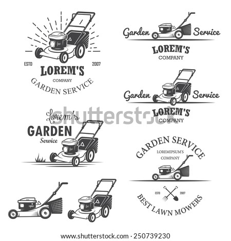 Set of vintage garden service emblems, labels, badges, logos and designed elements. Monochrome style - stock vector
