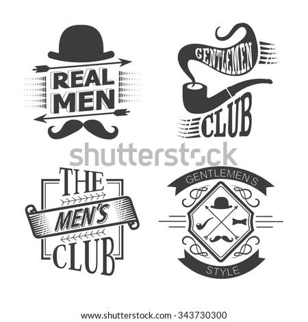 Set of vintage gentlemen club design elements. Men's emblems - vector set of Gentlemen's club and logos.  - stock vector