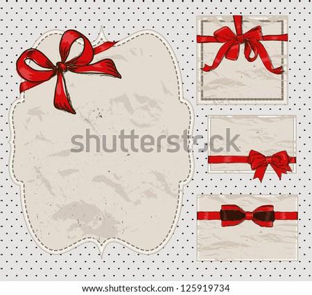 Set of vintage gift bows. Vector illustration EPS8 - stock vector