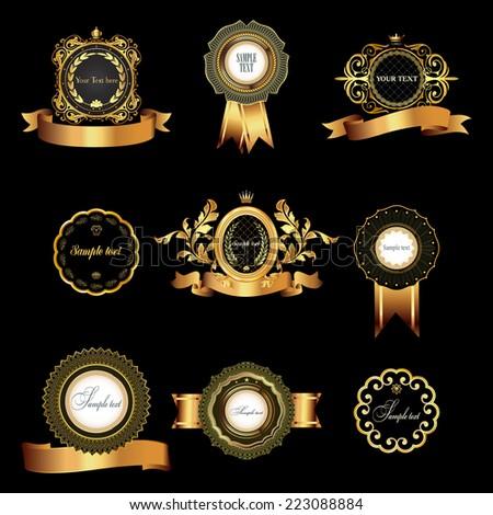 Set of vintage  gold-framed labels.Vector illustration.  - stock vector